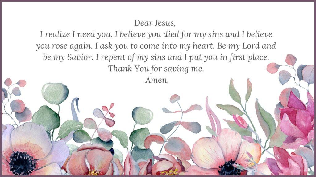 salvation prayer on a floral background