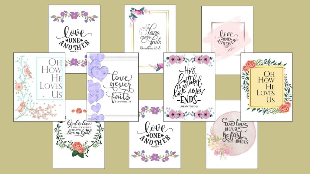 Printable Bible Verses about Love
