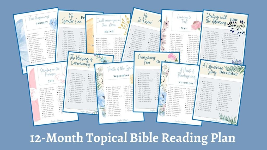 mock up of a 12 month printable bible reading plan