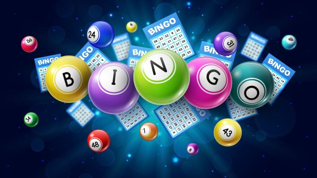 Bingo lotto game balls and lottery cards with lucky numbers on glowing background with sparkles