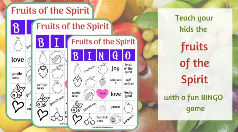 Fruits of the Spirit Bible Bingo Mockup