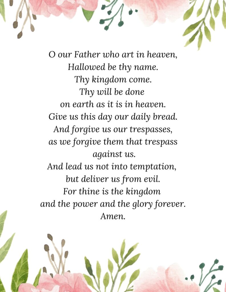 Printable Lord's Prayer NMB