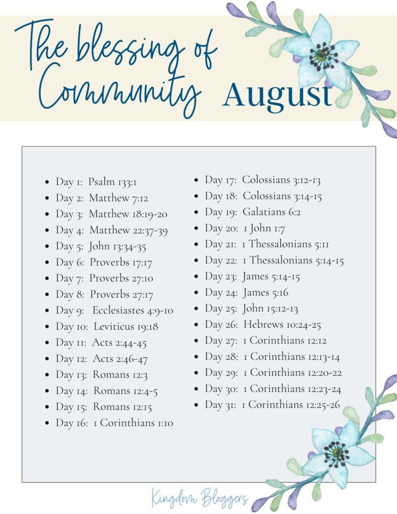 August Bible Reading Plan