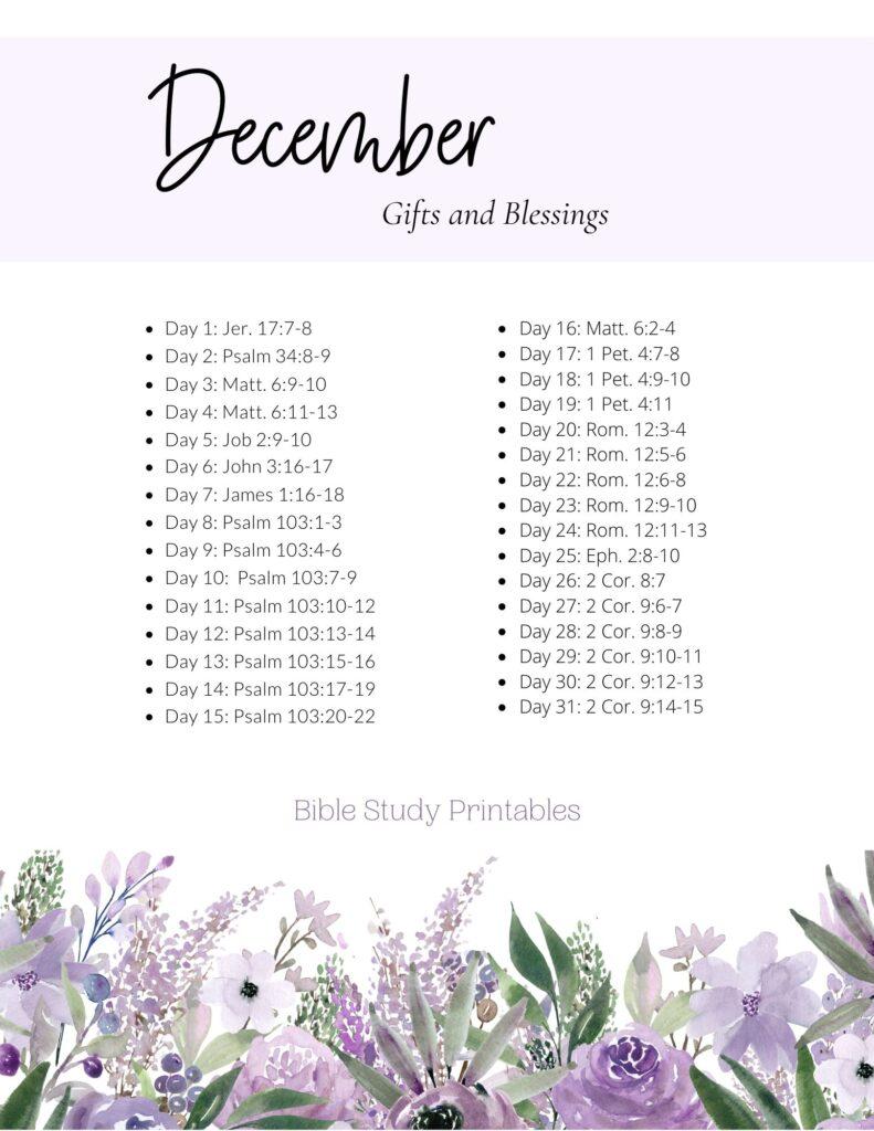 December Bible Reading Plan