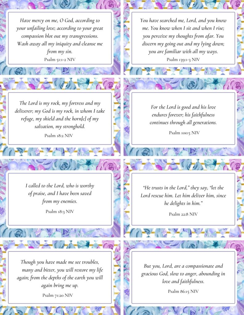 Printable Scripture Cards - Psalms of Love