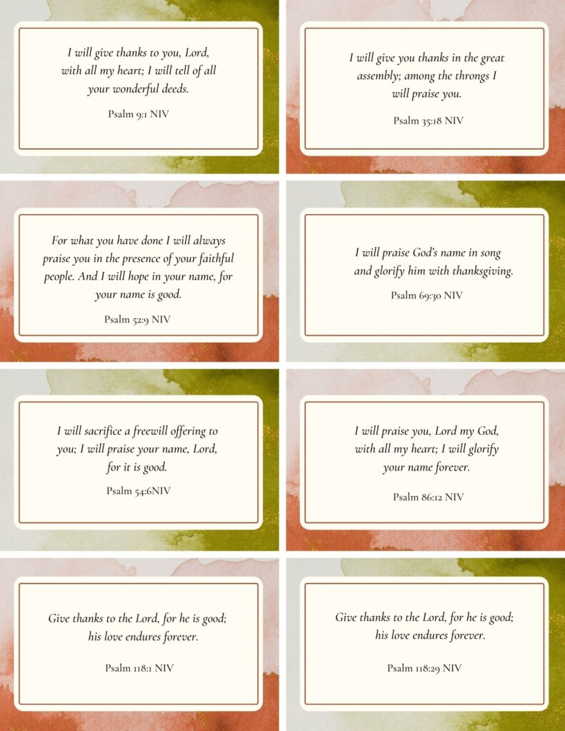 Printable Scripture Cards - Psalms of Thanksgiving and Praise
