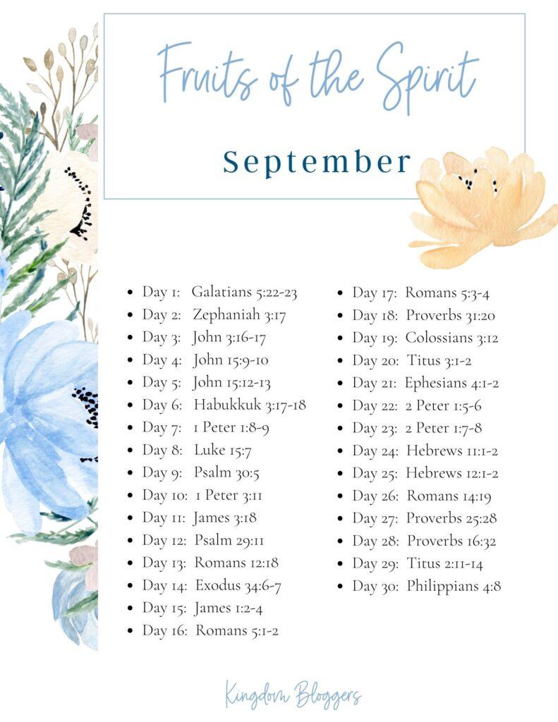 September Bible Reading Plan