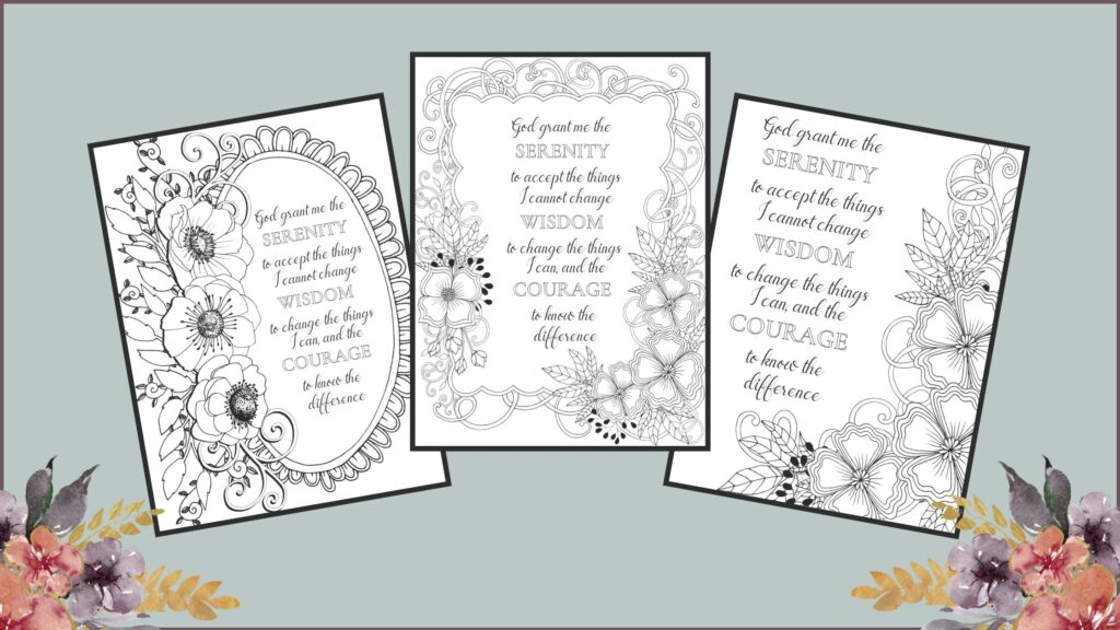Serenity Prayer Coloring Pages mockup