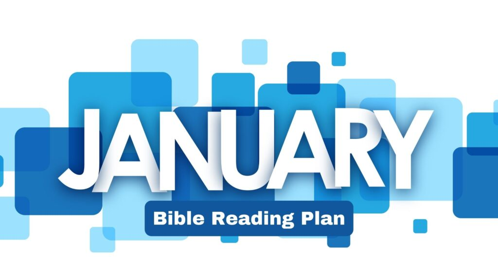 banner with the word january on it with blue blocks in the background