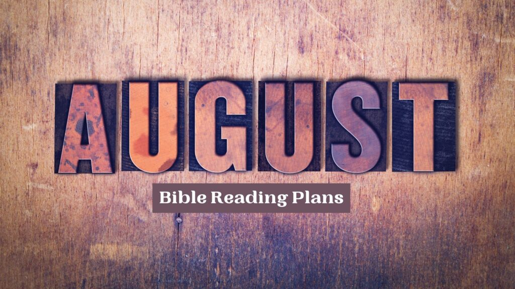 the words august bible reading plans written on brown marble background