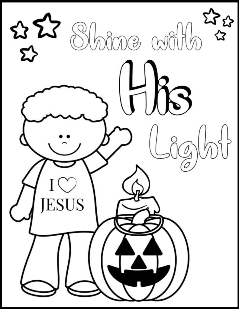 shine his light christian halloween coloring page