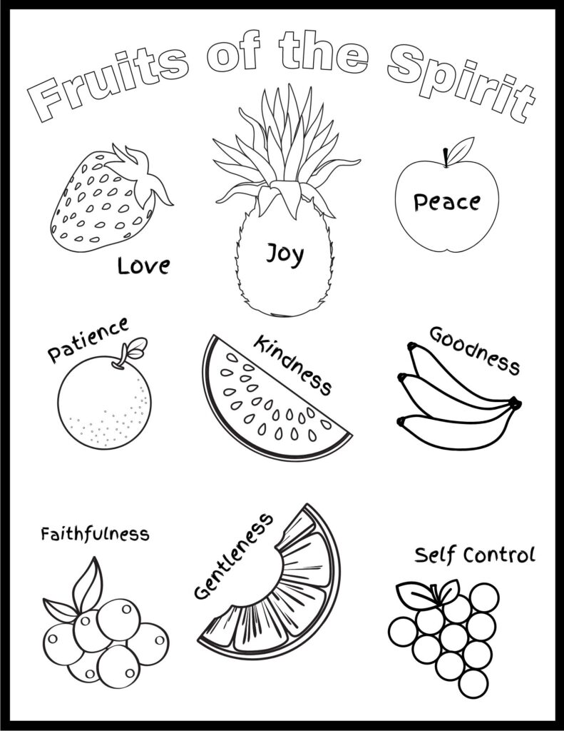 Fruits of the Spirit Word Coloring Page