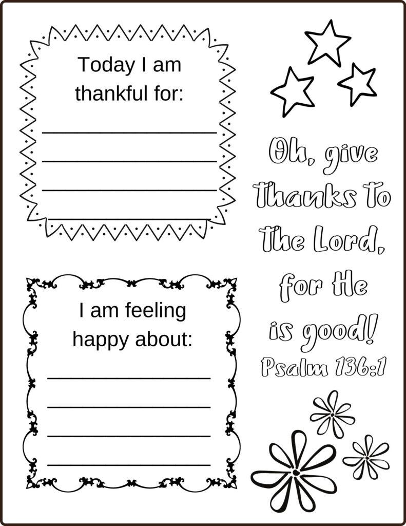 Printable Gratitude Journal template for Kids