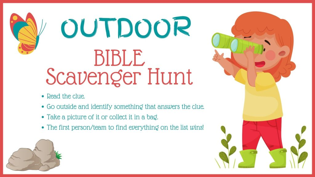 colorful graphic of a child holding a telescope looking for Bible scavenger hunt clues