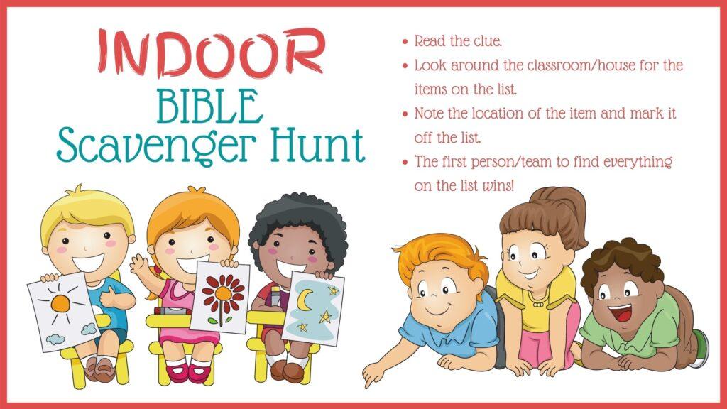 colorful graphic of school children looking for indoor Bible scavenger hunt clues