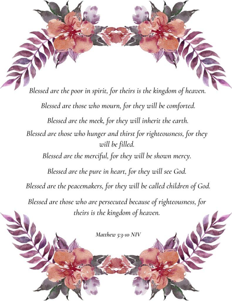 Beatitudes Printable List
